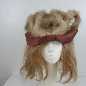 Vtg 20's Real Mink Fur Crown Hat Ribbon Trim OS